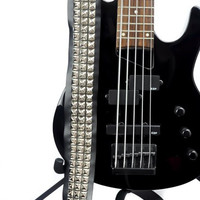 3 Row Silver Pyramid Stud Real Leather Guitar Strap