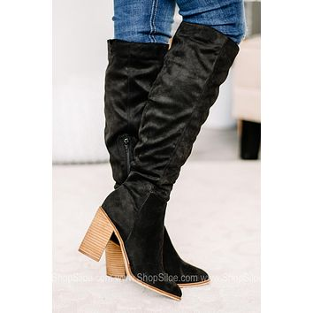 Nicole Soft Suede Tall Boots | Black