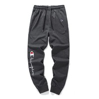 Champion autumn and winter couple casual cotton sports trousers Grey