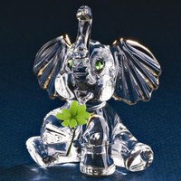 Glass Baron Good Luck Clover Lucky Elephant Glass Figurine w/ Swarovski Elements