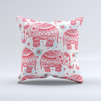 The Sacred Red Elephant and Polkadots ink-Fuzed Decorative Throw Pillow