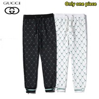 Gucci Simple casual versatile printed ribbed cotton trousers