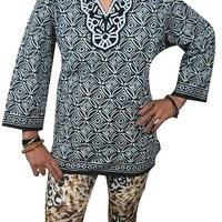 Indian Tunic Top Womens Kurti White Black Printed Cotton Blouse India Clothing
