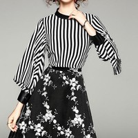 Stripe and Floral Long Sleeve Dress