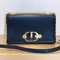Dior Fashion New Leather Chain Shopping Leisure Shoulder Bag Crossbody Bag Black