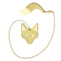 Fox & Tail Necklace in Mirror Gold