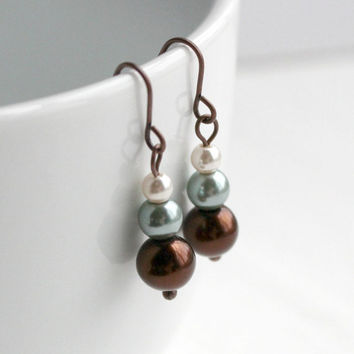 Small Cream, Mint Green, and Chocolate Brown Faux Pearl Small Beaded Dangle Earrings - Fashion Jewelry - Ready to Ship