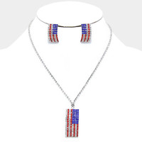 "16"" crystal american flag patriotic 4th of july necklace 1"" earrings"
