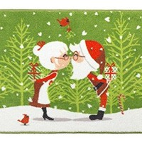Merry Christmas Bathroom Wish Collection Holiday Bath Mat (20 inch  x 30 inch ) - Santa and Mrs. Claus Kissing