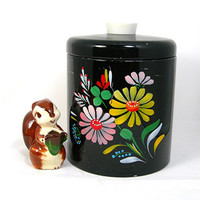 "Ransburg Tin Canster, With Lid, Black with Colorful Handpainted Flowers, 6-3/4"" Tall, Vintage Kitchen Collectible / Decor"