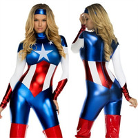 Captain America costume ladies suit skinny women undermines hero Captain America cosplay costume role-playing movie
