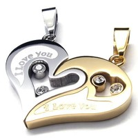His & Hers Couples Gift Heart Stainless Steel Pendant Love Necklace Set
