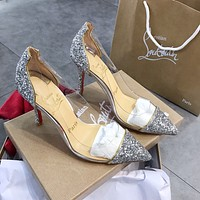 Christian Louboutin  Transparent PVC splicing patent leather T-belt pointed high heels