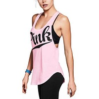 New Summer Sexy Women Tank Tops Quick Dry Loose Fitness Sleeveless Vs Love Pink Vest Singlet Exercise Workout T-Shirt P08 Z15