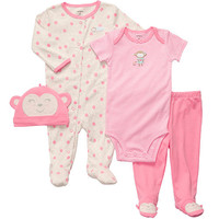 Carter's Girls Monkey 4 Piece Layette Set with Bodysuit, Footed Pant, Sleep and Play, and Cap - Preemie