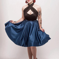 KELLY SKIRT - Teal Satin - Full Circle Pinup Rockabilly 50s Vitntage Inspired Evening Diamante Button