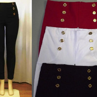 1X 2X 3X RED,WHITE, BLACK  High Waist Dress Pants, Six button front , Stretchy material, Rear zipper, Great Retro Look