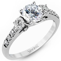 Simon G. 18K White Gold Classic Three Stone Diamond Engagement Ring