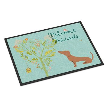 Welcome Friends Red Dachshund Indoor or Outdoor Mat 24x36 BB7631JMAT
