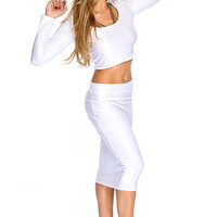 Sexy White Long Sleves Crop Top High Waist 2Pc. Party Dress