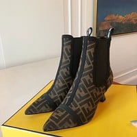 FENDI  Trending Women's men Leather Side Zip Lace-up Ankle Boots Shoes High Boots07250gh