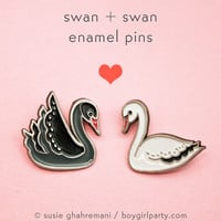 Swan Pin Set - Valentines Day Swan Enamel Pins
