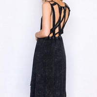 Stonewashed Cage Back Dress In Black