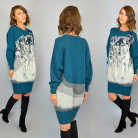 KRIZIA MAGLIA vtg 1986 rare designer knit novelty Wolf Pack oversized pullover sweater DRESS, extra small-small