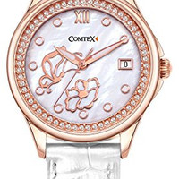 Comtex Women's Watches with Mother of Pearl Dial and White Leather Rose Gold Watches