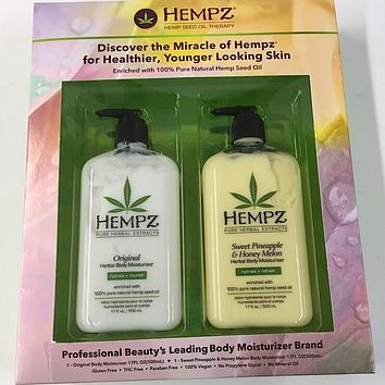 Hempz Lotion Herbal Body Moisturizer 2 Pack Sweet Pineapple & Honey Melon 17 Oz