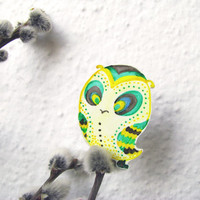 Cute owlet brooch green turquoise yellow shrinky plastic badge