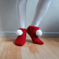Christmas Slippers, Red Slippers, Women Slippers, Knit Slippers with Pompoms, House Shoes, Slippers Socks,Winter Accessories