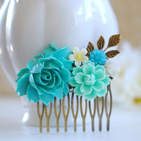 Turquoise Wedding Bridal Hair Comb, Turquoise Blue Ivory Flowers Brass Leaf Hair Comb, Country Wedding, Garden Wedding Hair accessory