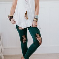 Distressed Denim Leggings - Army Green