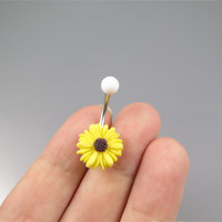 Cute yellow little daisy belly button jewelry ring,little daisy belly ring,flower belly ring,Belly Button Jewelry,summer jewelry,girlfriend
