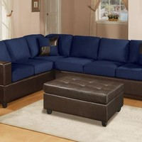 New Bobkona 2Pc Sofa Sectional Couch Microfiber Leather