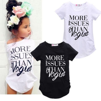 New Kids Baby Girls Short Sleeve Summer Cotton Tops T-shirt Clothes Casual 2-7Y