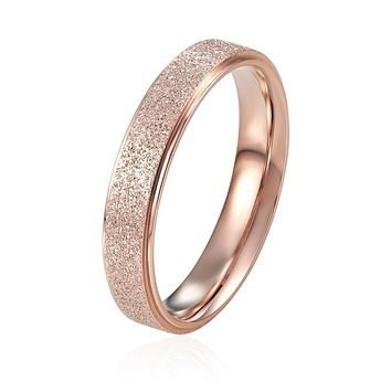 Titanium Steel Rings Rose Gold Color Top Quality 4mm Wide Frosted Woman Ring