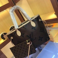 LV Louis Vuitton M41177 Women Leather Neverfull Tote Handbag Shoulder Bag Shopping Bags Purse Wallet Set Two-Piece