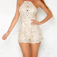 Beige Backless Spaghetti Strap Lace Romper Playsuit