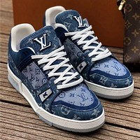 LV Louis vuitton new splicing letters men and women low-top sneakers Shoes