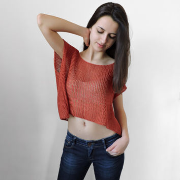 FREE SHIPPING Pure cotton top Brick red knit top Boho lace top Knit womens short blouse Crop tank Spring Summer tank Sleeveless crop blouse