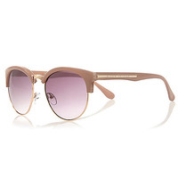 River Island Womens Light brown half frame retro sunglasses