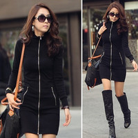 2015 New One-piece Dress 2014 Korean Style Fashion Casual Black Zipper-up Long sleeve Bodycon Dress Fitness Women Hot Sale plus size XXXL = 1958155780