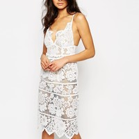For Love and Lemons Gianna Midi Dress in White Lace