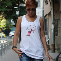Woman Tank Top, Shirt, Yoga shirt , Gym shirt, Sleeveless t-shirt, Funny shirt, Funny high heels, Fashion is my life