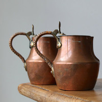 Pair of French Country Copper Pitchers, Flat Topped Creamers, Rattan Handles, Made in France