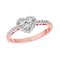 1/3 CT. T.W. Diamond Heart-Shaped Frame Ring in 10K Rose Gold