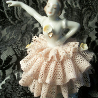 Dresden Porcelain Ballerina Figurine in Pink Lace Dress,  Antique 1910-20s Collectable