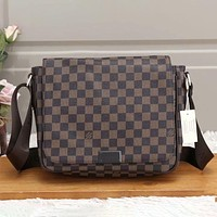 Louis Vuitton LV Classic Plaid Print Casual Business Briefcase Fashion Men's Shoulder Messenger Bag